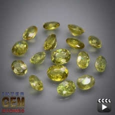 Demantoid 16 Stück Set, Oval, VS-SI, 3.24 Carat, 3.7x3.0-4.3x3.4 mm, aus Madagaskar